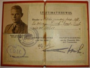 The pre-war Netherlands East Indies identification card issued to Dirk Drok