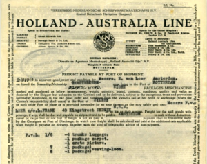 Ticket for journey with Holland Australia Line, 1947