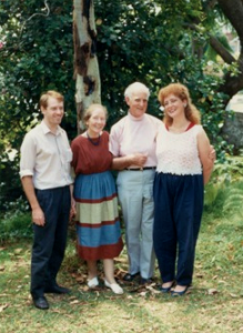 With Hans Fanoy, 1985 (left) and with Hans Fanoy and wife Beryl, 1985 (right).