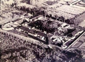 An aerial view of Banjoe Biroe XI POW camp in Java. Henriette and her family were billetted in the lower right-hand corner.