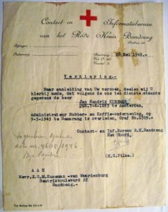 Formal notification in 1948 of Jan Kuneman's 1945 death ib Semarang and grave number from the Red Cross in Bandoeng.