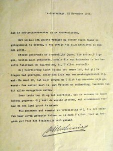 November 1945 letter from Dutch Queen Wilhelmina to the Kuneman family.