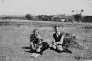 2 Kids & Dog in Field