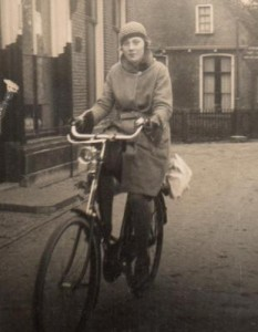Sylvia Going to Work on the Bike in 1937