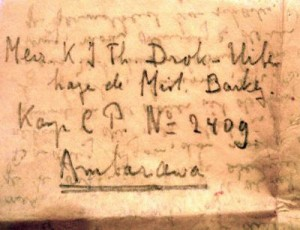 Letter written on rice paper by Dirk to Kitty and smuggled into the Ambarawa women's camp in East Java.