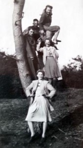 Henriette (standing at front) with friends in Holland, 1947.