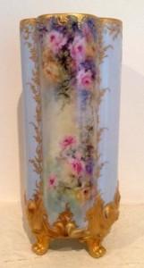 45-Kitty Drok-gold embossed ceramic rose vase