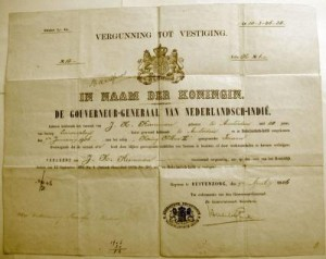 1906 Permanent Residence Permit for Jan Kuneman to reside in the Netherlands East Indies.