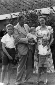 From left, Arnold, Dirk, Paul, Kitty and Erwin Drok, when living at Boronia Flats, Stirling Highway, Nedlands, Western Australia in 1952.