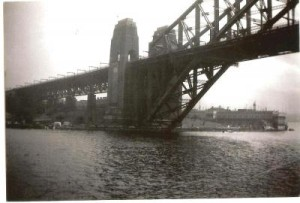 Photo taken from the 'Groote Beer' as it sailed past the Sydney Harbour Bridge,September 1951.