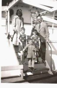 Hannie's family aboard the 'Groote Beer' August 1951
