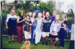 Photo above: Walter and family in 2005. From left: Stephen (daughter Karen's partner); daughter Marsha; grandson Joel (daughter Helene's son); grandaughter Jessica (Karen's daughter); daughter Karen; wife Willy; grandson Troy; Walter; Paul (Helene's husband); grandaughter Monique (Helene's daughter); and daughter Helene.