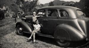 Pre-war holiday snapshot of Anton and his sister in a 1938 Buick in the mountain in Punjak. The photo was taken in early 1942 just prior to the Japanese invasion of the Netherlands East Indies.