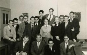Klaas (top right) with class members at the Hotel School at the Hague, 1959.