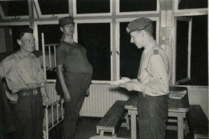 Klaas inspecting joking soldiers during his National Service in 1953.