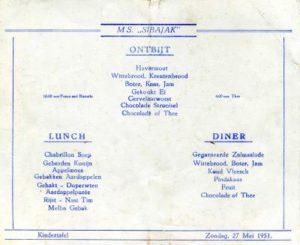 Children's menu on the Sibajak
