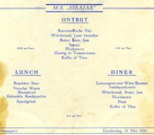 Adults menu on the Sibajak