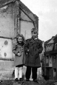 Frank and Rose on war ruins in Moenchengladbach (Germany)